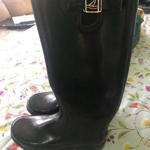 Sperry women's 8 tall black rain boots